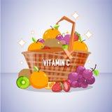 Houten mand vitamine Cfruit gezond concept - stock illustratie