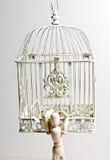 Houten marionet die birdcage ingaan stock afbeeldingen