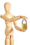 Houten marionet en hangslot Stock Foto