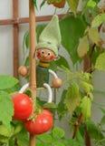 Houten Marionet en tomaten stock afbeelding