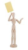 Houten Marionet met Schrijfpapier dat op witte bac wordt geïsoleerd, Stock Afbeeldingen