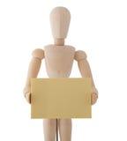 Houten Marionet met Schrijfpapier dat op witte bac wordt geïsoleerdt Stock Foto