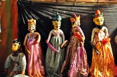 Houten marionetten in Rajasthan stock afbeelding