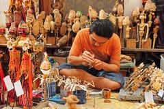 Houten marionettenmaker Stock Foto's