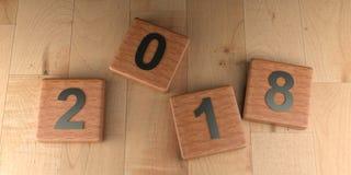 2018 houten markeringen - het 3D teruggeven Stock Foto