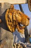 Houten masker van een tijger royalty-vrije stock afbeelding