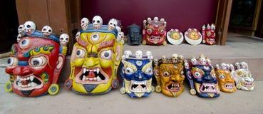 Houten maskers Royalty-vrije Stock Afbeeldingen