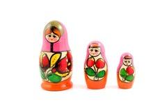 Houten matryoshkapoppen van Rusland Stock Fotografie
