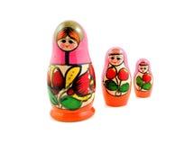 Houten matryoshkapoppen van Rusland Stock Afbeeldingen
