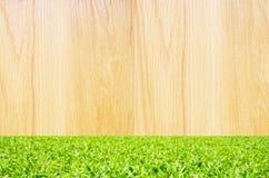 Houten met groene grasachtergrond Stock Foto's