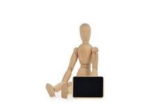 Houten model met bord Stock Afbeelding