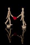 Houten modellen op de Dag van Valentine Liefde romantisch Royalty-vrije Stock Fotografie