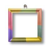 Houten multicolored kader voor portrettering Stock Afbeelding