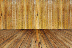 Houten muur en houten vloer stock foto