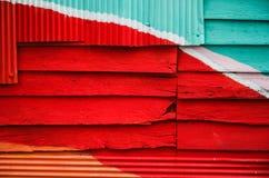 Houten muur kleurrijk voor achtergrond Stock Foto