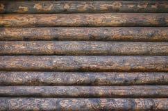 Houten muur van logboeken als achtergrondtextuur royalty-vrije stock fotografie