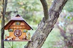 Houten muurklok in de vorm van een huistribune in de takken van een boom Tegen de achtergrond van heldergroen royalty-vrije stock afbeelding