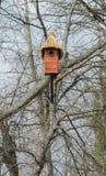 Houten nestkastje met de hand gemaakt met met stro bedekt dak Stock Afbeelding