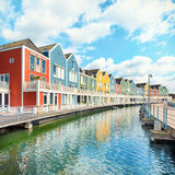 Houten, Netherlands - Traditional dutch houses on canal Royalty Free Stock Image