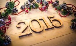 Houten Nieuwe het jaartekst van 2015 Stock Afbeeldingen