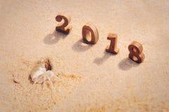 Houten nummer 2018 op strandachtergrond met het idee van de spookkrab Royalty-vrije Stock Afbeeldingen