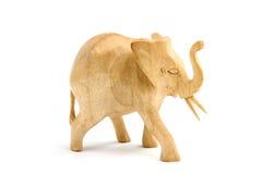 Houten olifantsbeeldhouwwerk Stock Afbeeldingen