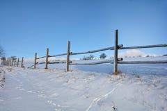 Houten omheining in de winter met sneeuw en blauwe hemel stock afbeeldingen
