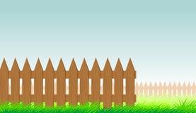 Houten omheining, de zomergras stock illustratie