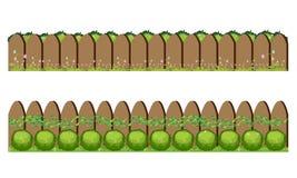 Houten omheining en gras, Vectorillustratie Stock Afbeeldingen