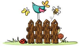Houten omheining met vogel en insecten royalty-vrije illustratie