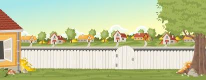 Houten omheining op de binnenplaats van een kleurrijk huis in voorstadbuurt stock illustratie