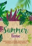 Houten omheining in tropische wildernis De tekst van de de zomertijd royalty-vrije illustratie