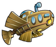 Houten onderzeeër Royalty-vrije Stock Foto's