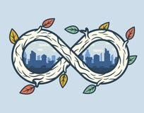 Houten oneindigheidsvorm met stad Stock Afbeelding