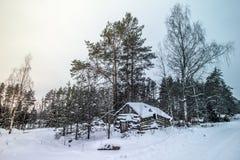 Houten oud huis in het bos stock afbeelding
