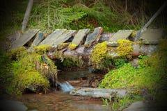 Houten oude brug op bergstroom Stock Foto