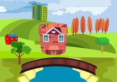 Houten oude brug over de rivier, cityscape platteland, concept royalty-vrije illustratie