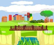 Houten oude brug over de rivier, cityscape platteland, concepten vectorillustratie stock illustratie