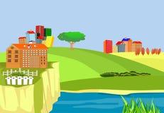 Houten oude brug over de rivier, onderbreking bij de rivier, cityscape platteland, concept vector illustratie