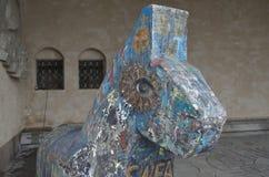 Houten paard, Stadhuis van Stockholm Stock Foto