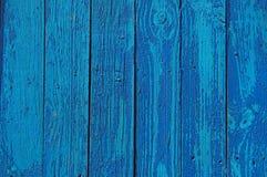 Houten Palissadeachtergrond, blauwe verf Stock Afbeeldingen