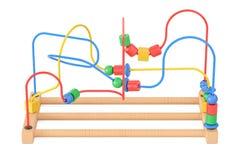 Houten parellabyrint, onderwijsstuk speelgoed het 3d teruggeven Royalty-vrije Stock Afbeelding