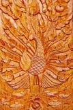 Houten pauwgravure Royalty-vrije Stock Afbeelding