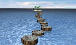 Houten pier aan het eiland stock illustratie