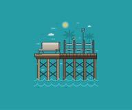 Houten Pier of Overzeese Pijler op Kust royalty-vrije illustratie