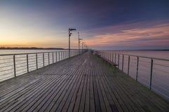 Houten pijler op het meer Royalty-vrije Stock Fotografie