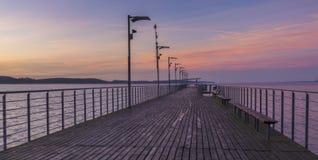 Houten pijler op het meer Royalty-vrije Stock Foto