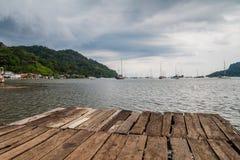 Houten pijler in Portobelo, Pana royalty-vrije stock foto