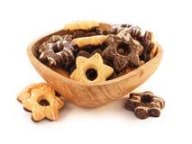 Houten plaat met koekjes Stock Foto's