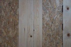 Houten plank en triplex binnenlandse muur dit beeld voor textuur stock foto's
